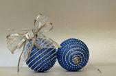 Blue christmass balls — Stock Photo