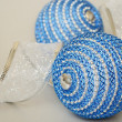 Blue christmass balls and decoration ribbon — Stock Photo #36421723