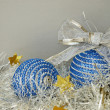 Blue Christmas balls and tinsel  — Foto de Stock