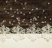 Snowflakes on white and dark background — Foto Stock