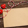 Stock Photo: Two hearts and card
