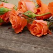 Stock Photo: Roses on wood