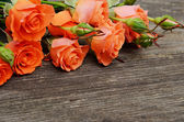 Roses on wooden background — Fotografia Stock