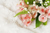 Pink flowers on white lace — Stock Photo
