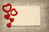 Valentine card on canvas background — Stock Photo