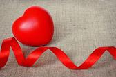 Big heart on canvas — Stock Photo