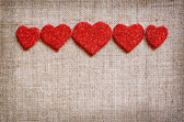 Hearts line on canvas — Stockfoto