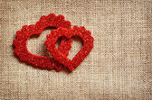 Hearts on canvas — Stock Photo