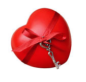 Red heart and key for valentine's day — Zdjęcie stockowe