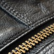 Black leather bag detail — Stock Photo