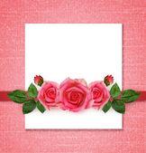 Rose flowers arrangement and frame — Стоковое фото