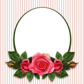 Rose flowers composition and oval frame — Стоковое фото