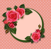 Rose flowers composition and holiday frame — Stock Photo