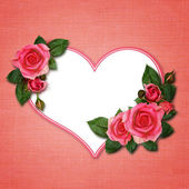 Rose flowers and heart — Stock Photo