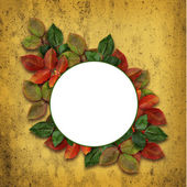 Round frame with colorful leaves — Stock Photo