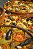 Rice preparation at oven spain called arroz al horno from valencia — Stock Photo