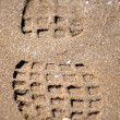 Tread footprint on sand — Stock Photo