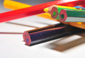 Pencil colour for drawing childs playing in school — Stock Photo