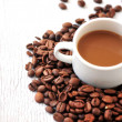 Foto Stock: Coffee arabigbeand coffe cup for time coffe break
