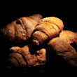 Croissants elaboration delicatessen bakery elaborations for breakfast — Stock Photo