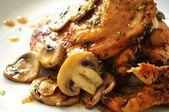 Roast chicken breast food elaboration chef in restaurant speciality — Stock Photo