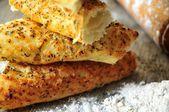 Italian cuisine focaccia elaboration clasical trattoria italy bread elaboration — Stock Photo