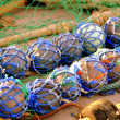 Marine nets fishing art gear for fish seaman views — Stock Photo