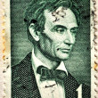 Abraham lincoln old stamp vintage united states postage service 1 cent of dollar value — Stock Photo