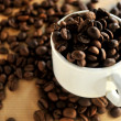 Coffee beans and coffee cup textures — Stock Photo