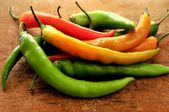 Hot infierno red chili peppers — Stock Photo