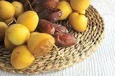 Date fruit of palm tree phoenix dactylifera — Stock Photo