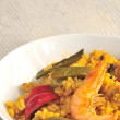 Paella recipe rice with sea shell from spain gastronomy — Stock Photo