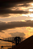 Salt extraction industry at sundown view — Foto Stock