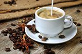 Coffee cup and anise fresh aromatic coffee preparation — Stock Photo