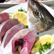 Sea fish tuna and fresh fresh fish seafood — Stock Photo