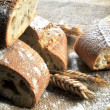 Bread elaboration in textil background — Stock Photo