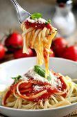 Fresh pasta italian spaghetti italian restaurant recipe — Stock Photo