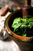 Basil fresh and garlic for mashing food ingredient — Stock Photo