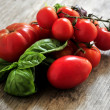 Tomatoe and cheese basil ingredients for cooking recipe — Stock Photo