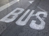 Bus stop and cycle area traffic circulation city — Stock Photo
