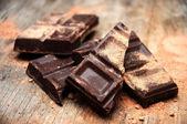Chocolate bar broken — Stock Photo