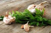 Garlic parsley and herbs — Stock Photo