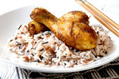 Rice basmati with chicken — Stock Photo