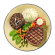 Grilled beef steak oriental style - 图库照片