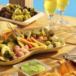 Mixed appetizer with wine — Stock Photo