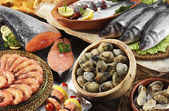 Fishes,clams and prawns — Stock Photo