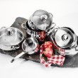 Stock Photo: Stainless steel cookware