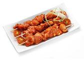 Marinated chicken kebab — Stock Photo