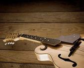 Mandolin on wooden slats — Stock Photo