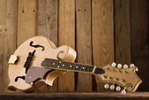 Mandolin lying on wood — Stock Photo